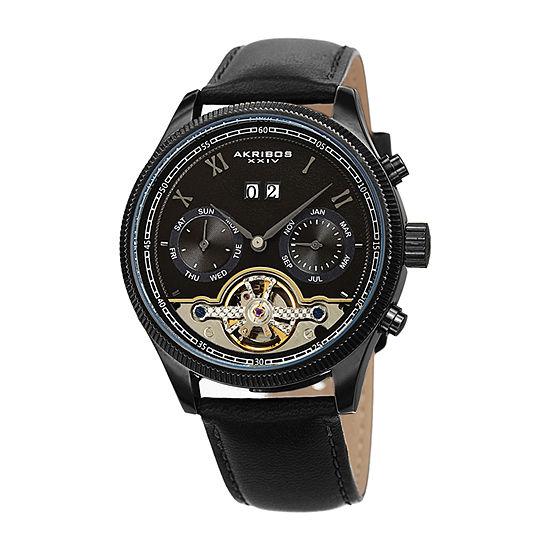 Akribos XXIV Mens Automatic Multi-Function Black Leather Strap Watch-A-1065bk