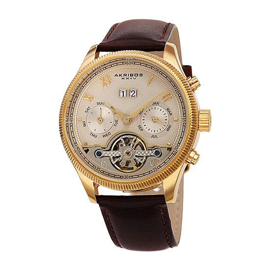 Akribos XXIV Mens Brown Automatic Strap Watch-A-1065br