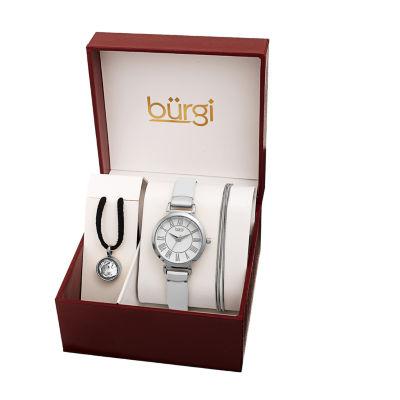 Burgi Womens White 3-pc. Watch Boxed Set-B-211ss-S