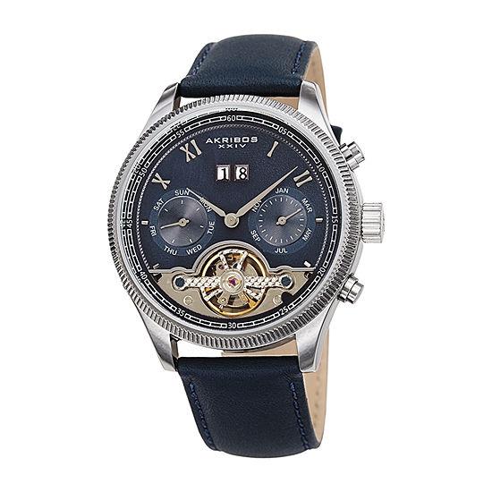 Akribos XXIV Mens Blue Automatic Strap Watch-A-1065bu