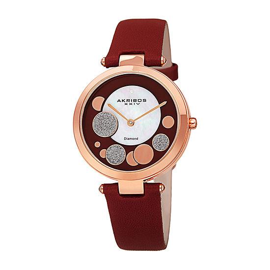 Akribos XXIV Womens Diamond Accent Red Leather Strap Watch-A-1069bur