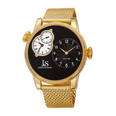 Joshua & Sons Mens Gold Tone Bracelet Watch-J-154ygb