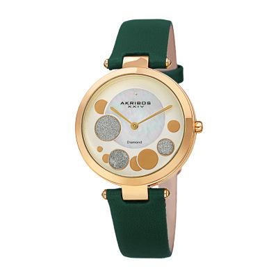 Akribos XXIV Womens Green Strap Watch-A-1069gn