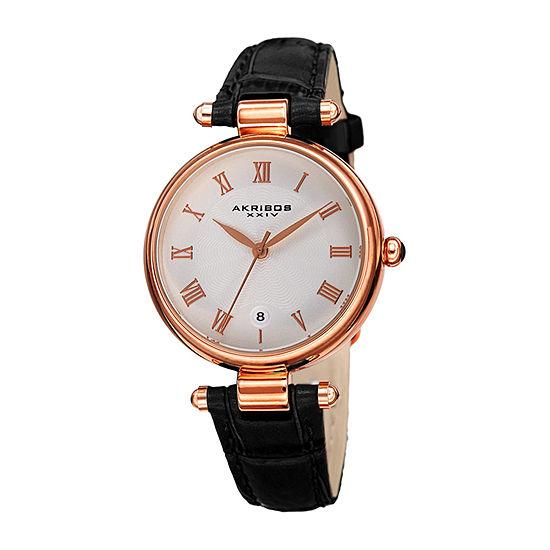 Akribos XXIV Womens Black Leather Strap Watch-A-1070bkr
