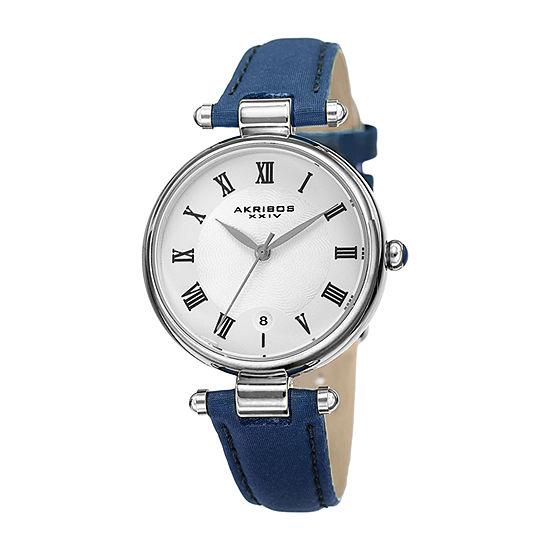 Akribos XXIV Womens Blue Leather Strap Watch-A-1070bu