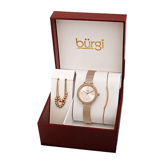 Burgi Womens Rose Goldtone 3-pc. Watch Boxed Set-B-216rg-S