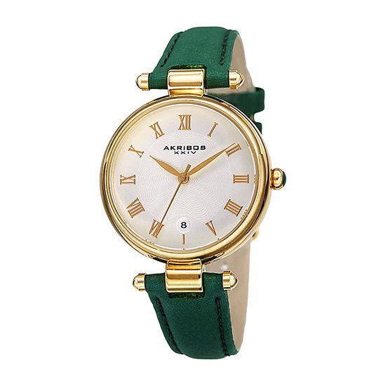 Akribos XXIV Womens Green Leather Strap Watch-A-1070gn