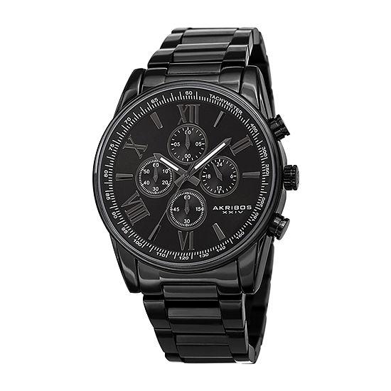 Akribos XXIV Mens Chronograph Multi-Function Black Stainless Steel Bracelet Watch-A-1072bk