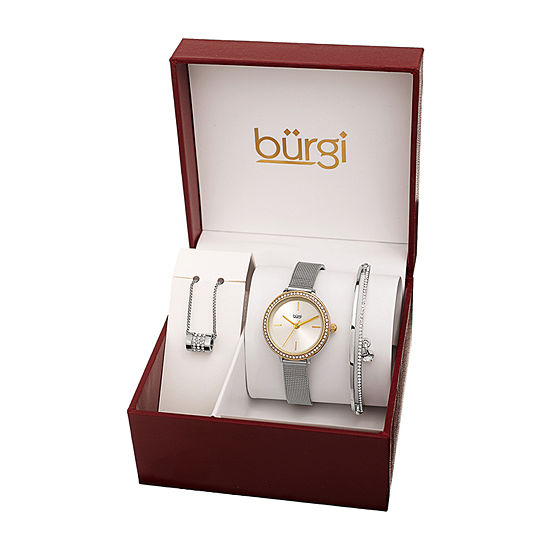 Burgi Womens Silver Tone 3 Pc Watch Boxed Set B 216ttg S