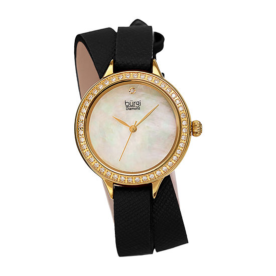 Burgi Womens Crystal Accent Black Leather Strap Watch-B-224bk