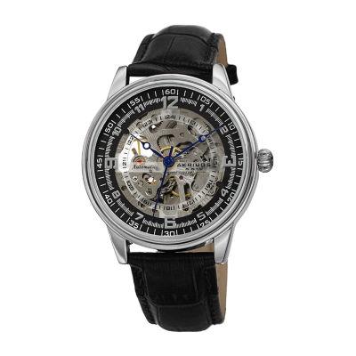 Akribos XXIV Mens Black Strap Watch-A-1073ss