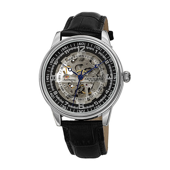 Akribos XXIV Mens Automatic Black Leather Strap Watch-A-1073ss