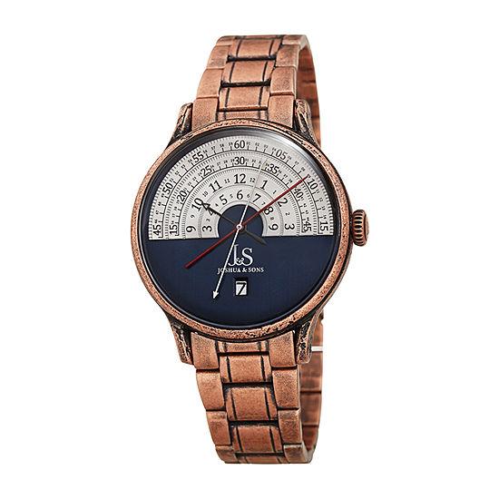 Joshua & Sons Mens Rose Goldtone Stainless Steel Bracelet Watch-J-153rgbu