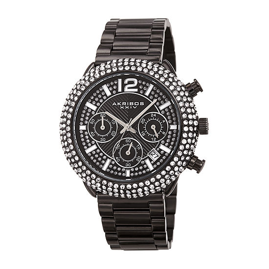 Akribos XXIV Mens Chronograph Crystal Accent Black Stainless Steel Bracelet Watch-A-1075bk