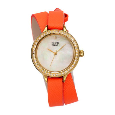 Burgi Womens Orange Strap Watch-B-224or