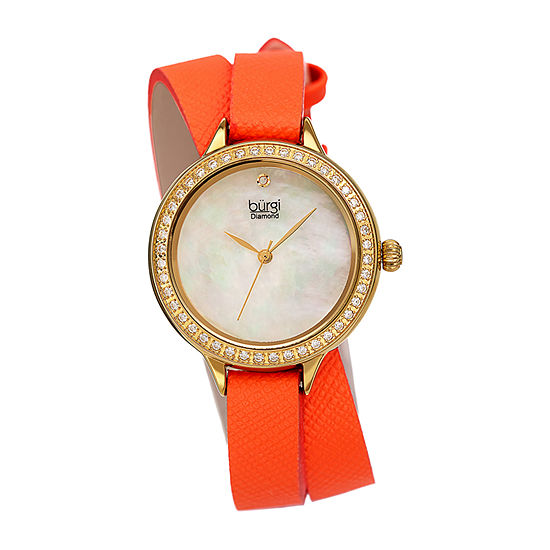 Burgi Womens Crystal Accent Orange Leather Strap Watch-B-224or