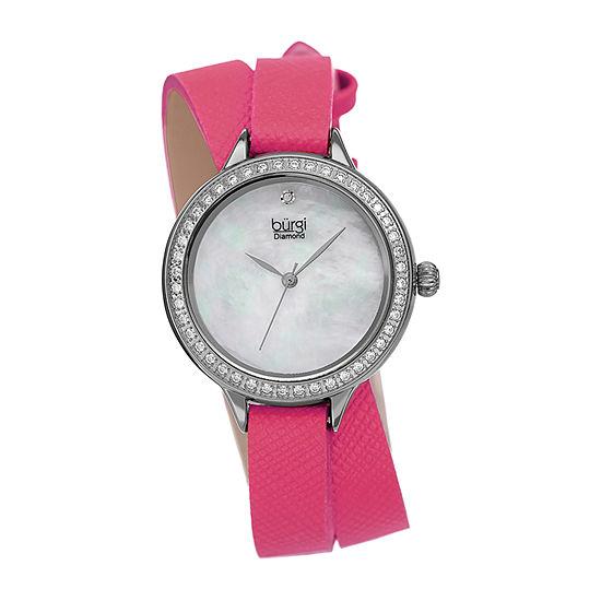 Burgi Womens Pink Strap Watch-B-224pk