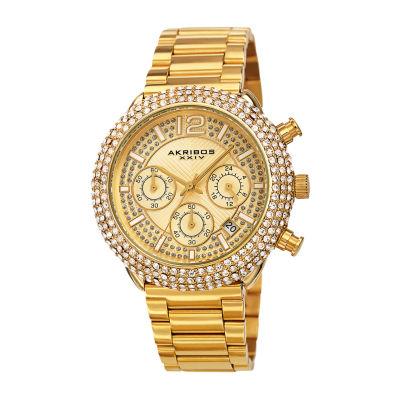 Akribos XXIV Mens Gold Tone Bracelet Watch-A-1075yg