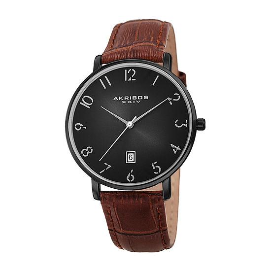 Akribos XXIV Mens Brown Strap Watch-A-1077bk