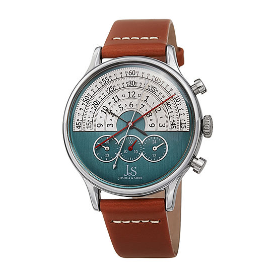 Joshua & Sons Mens Brown Strap Watch-J-152br