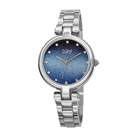 Burgi Womens Crystal Accent Silver Tone Stainless Steel Bracelet Watch-B-226ssbu