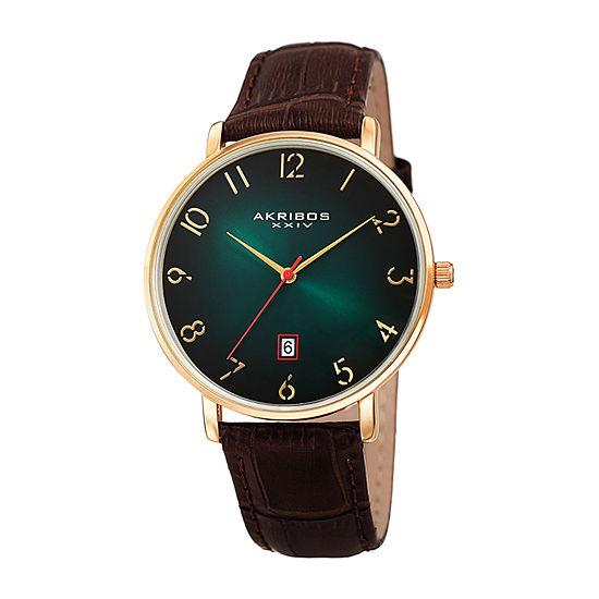 Akribos XXIV Mens Brown Leather Strap Watch-A-1077ygn