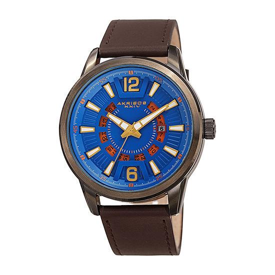 Akribos XXIV Mens Brown Leather Strap Watch-A-1079bubr