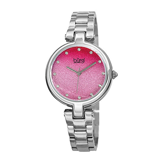 Burgi Womens Crystal Accent Silver Tone Stainless Steel Bracelet Watch-B-226sspk