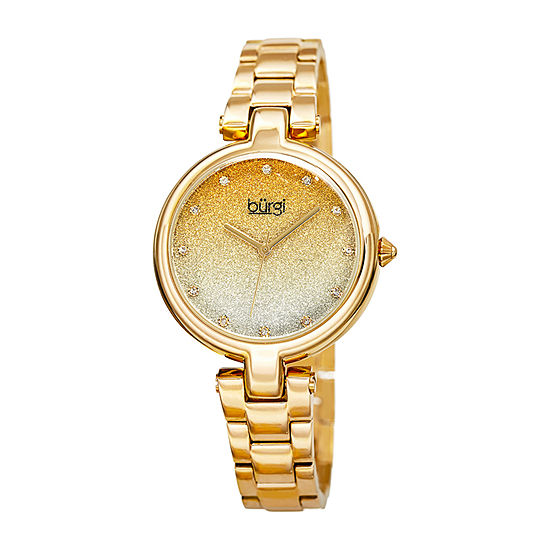 Burgi Womens Gold Tone Bracelet Watch-B-226yg
