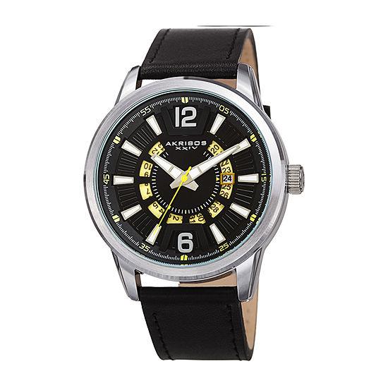 Akribos XXIV Mens Black Leather Strap Watch-A-1079ssbk
