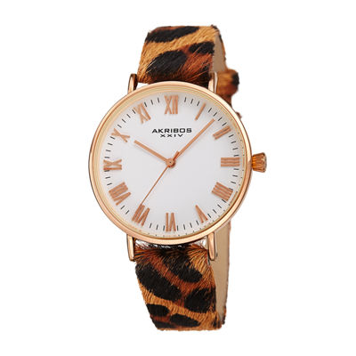 Akribos XXIV Womens Brown Strap Watch-A-1080rg