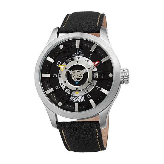 Joshua & Sons Mens Black Strap Watch-J-150ssb