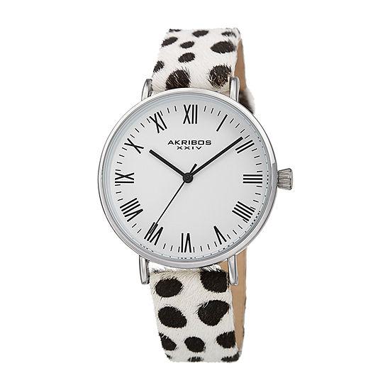 Akribos Xxiv Womens White Strap Watch A 1080ss