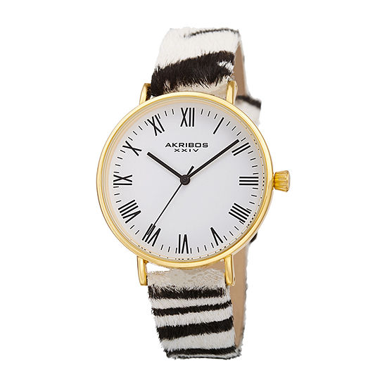 Akribos XXIV Womens White Leather Strap Watch-A-1080yg