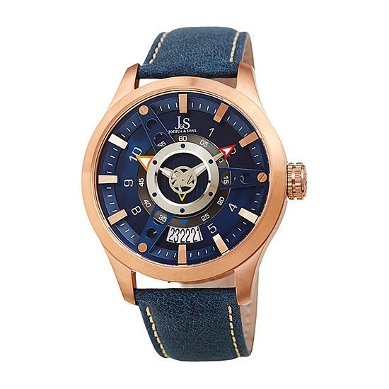 Joshua & Sons Mens Blue Leather Strap Watch-J-150rgbu
