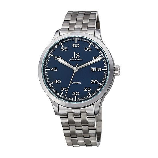 Joshua & Sons Mens Silver Tone Bracelet Watch-J-149ssbu