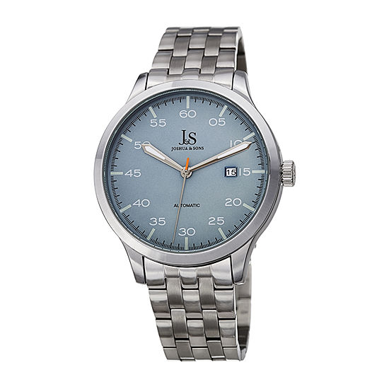 Joshua & Sons Mens Silver Tone Bracelet Watch-J-149ss