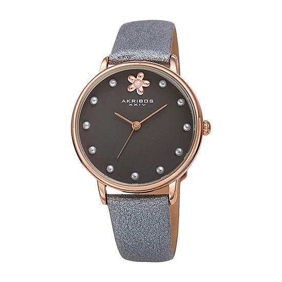 Akribos XXIV Womens Gray Leather Strap Watch-A-1084gy