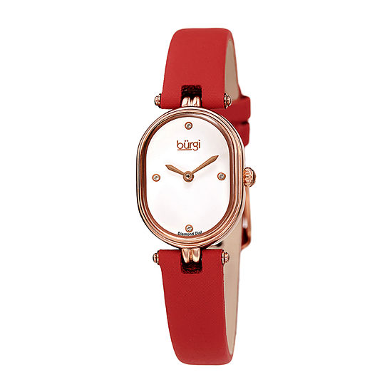 Burgi Womens Diamond Accent Red Leather Strap Watch-B-229rd