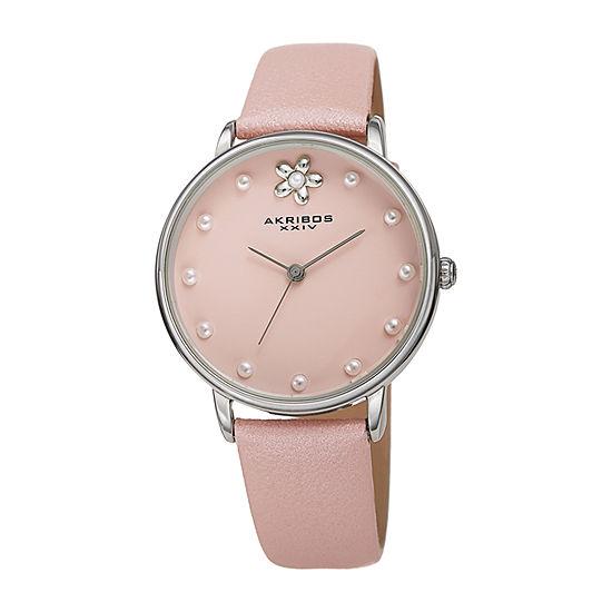 Akribos XXIV Womens Pink Leather Strap Watch-A-1084pk