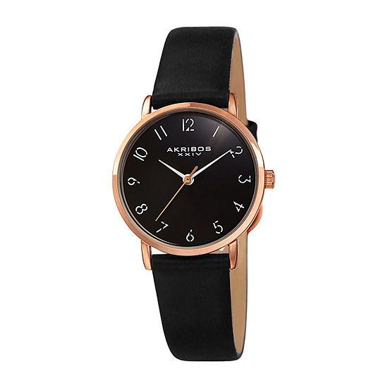 Akribos XXIV Womens Black Strap Watch-A-1087bk