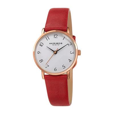 Akribos XXIV Womens Red Strap Watch-A-1087rd