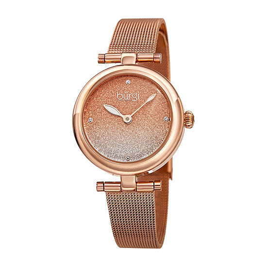 Burgi Womens Rose Goldtone Bracelet Watch-B-231rg
