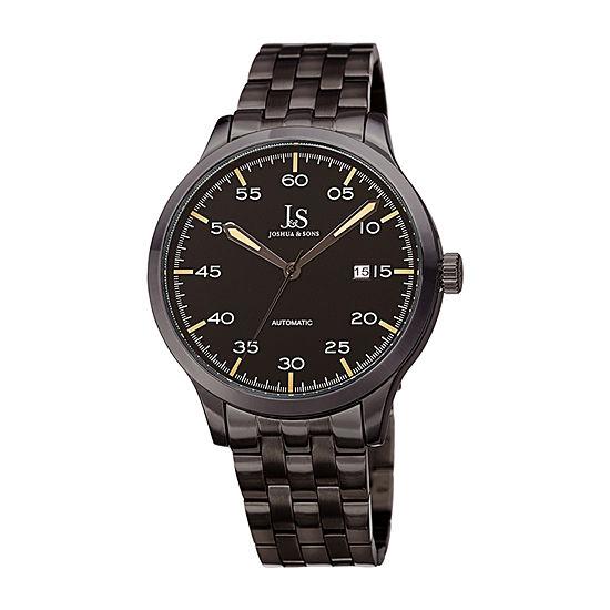 Joshua & Sons Mens Black Automatic Bracelet Watch-J-149bk