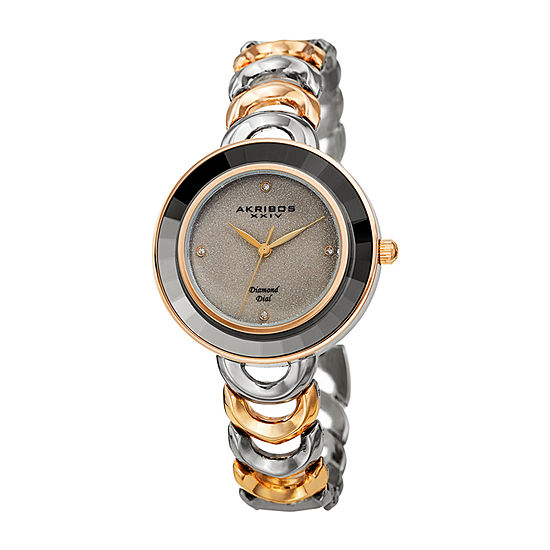 Akribos XXIV Womens Diamond Accent Two Tone Bracelet Watch-A-1088ttg