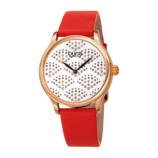 Burgi Womens Red Leather Strap Watch-B-238rd