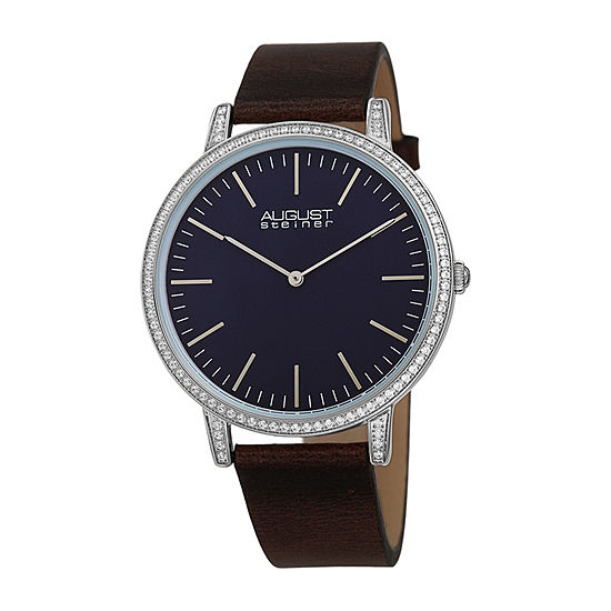 August Steiner Womens Crystal Accent Brown Leather Strap Watch-As-8273brbu