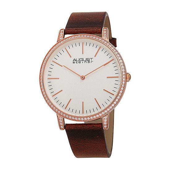 August Steiner Womens Brown Strap Watch As 8273br