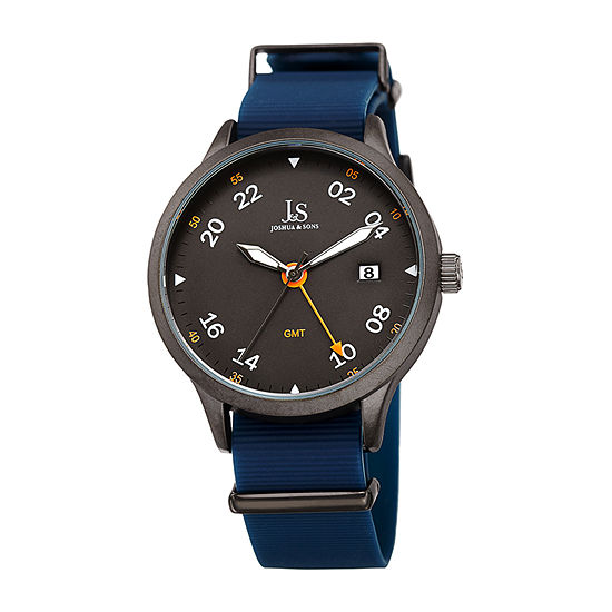 Joshua & Sons Mens Blue Strap Watch-J-147gnbu