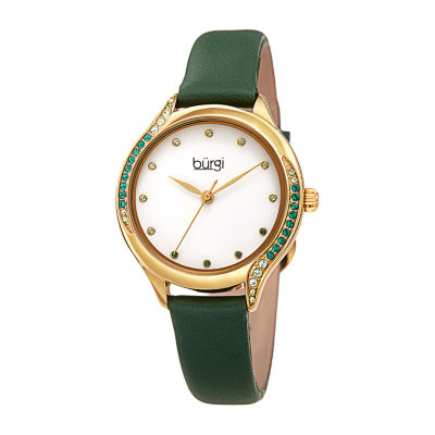 Burgi Womens Green Strap Watch-B-239gn